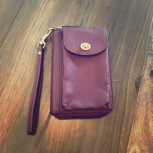 Coach Zippered Leather Wristlet